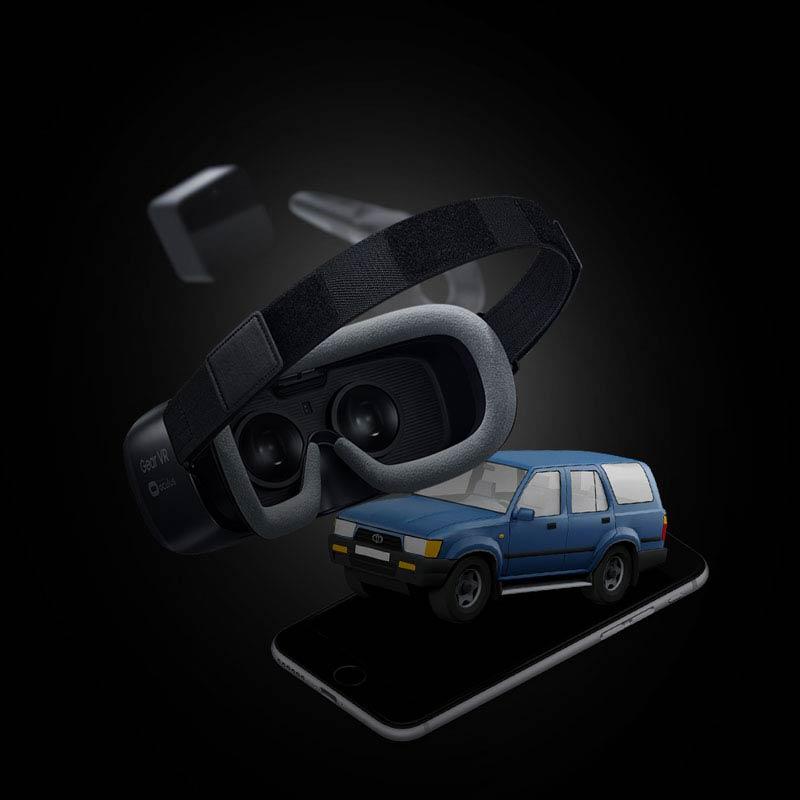 هدست واقعیت مجازی، ماشین، موبایل کنار هم-آژانس تبلیغات کربن- دیجیتال- تبلیغات دیجیتال- کربن