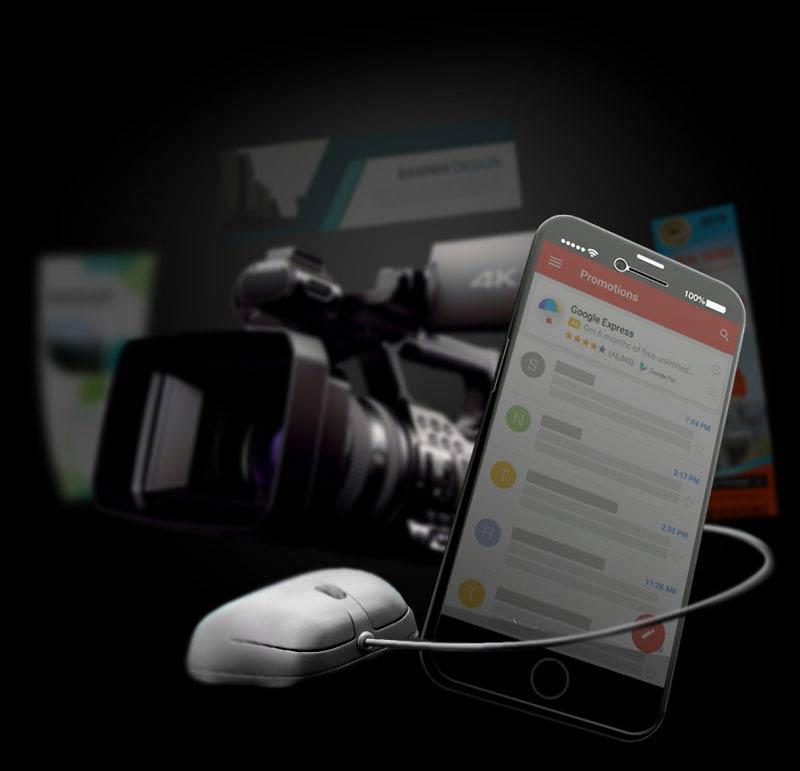 دوربین فیلمبرداری و موس و موبایل-آژانس تبلیغاتی کربن- تبلیغات دیجیتال