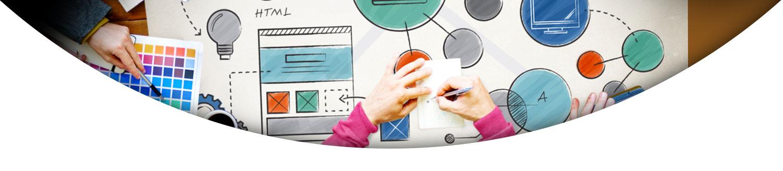 دایره ها و طرح های نقاشی شده و دست دو نفر- آژانس تبلیغات کربن