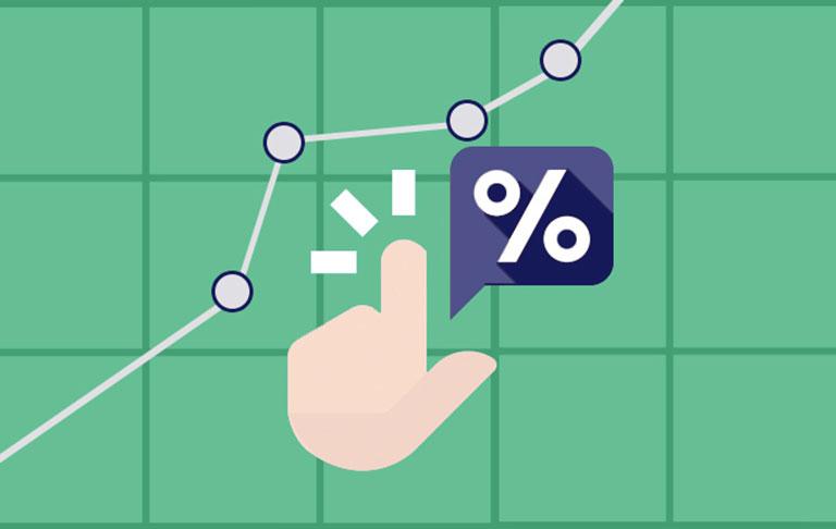 دست کارتونی در حال کلیک کردن در کنار نمودار و علامت درصد. تبلیغات - آژانس تبلیغاتی- آژانس کربن- دیجیتال