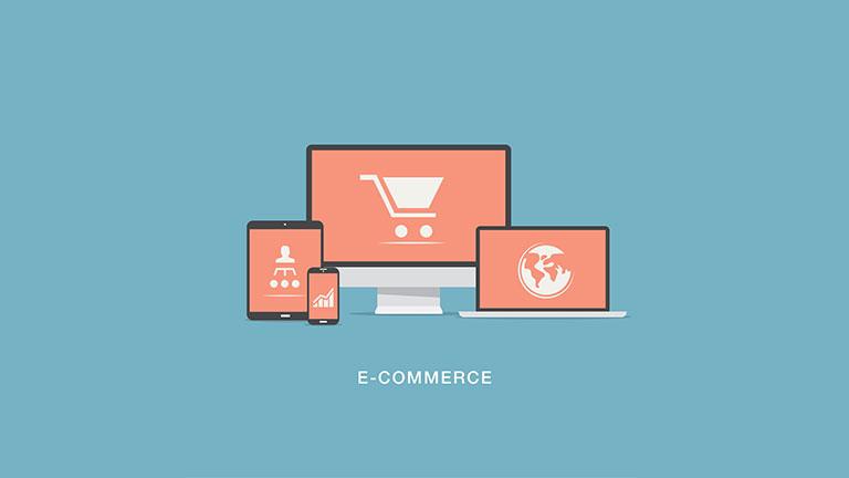 لپ تاپ ، تبلت و موبایل نقاشی و نوشته ی e-commerce -تجارت الکترونیک- تبلیغات دیجیتال - آژانس کربن - آژانس تبلیغاتی